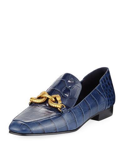 8fab9eb8da0 Tory Burch Jessa Royal Navy Croco Embossed Leather Loafers W Goldtone Horse  Hardware