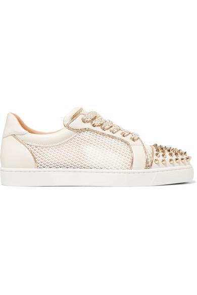 b2f524ee97e9 Christian Louboutin Ac Viera Spikes Flat Leather   Mesh Sneakers - White