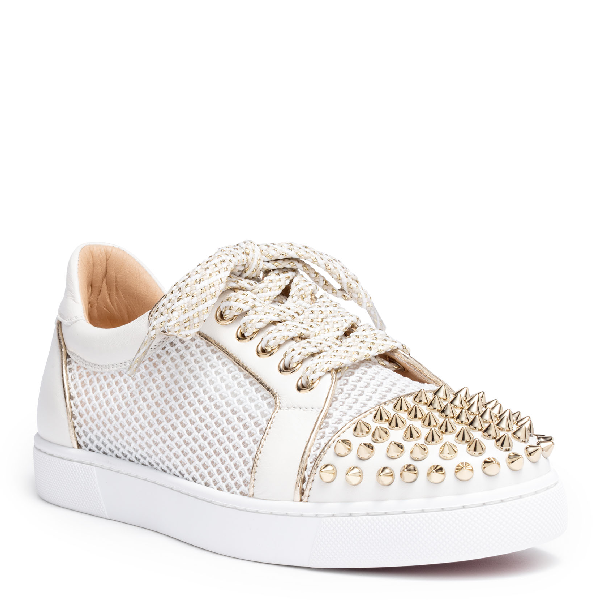 102eef5e99f2 Christian Louboutin Ac Viera Spikes Flat Leather   Mesh Sneakers - White