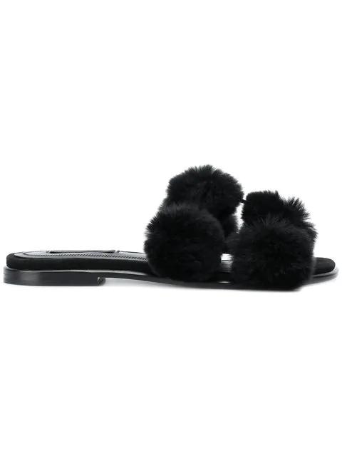 Alexander Wang Opening Ceremony Ava Fur Slide Sandals In Black