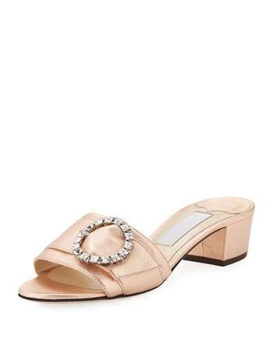 62ee0d28b96d Metallic nappa leather. Crystal buckle. Wide toe band. Leather lined.  Leather sole. Heel height measures  35mm 1.4 inches. Made in Italy TEA ROSE  CRYSTAL
