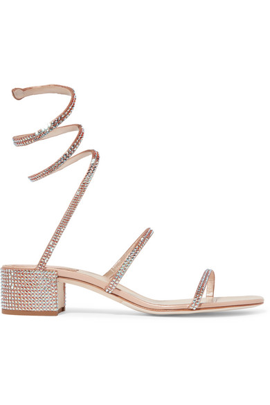 1146842f0f RenÉ Caovilla Cleo Crystal-Embellished Metallic Satin And Leather Sandals  In Neutral