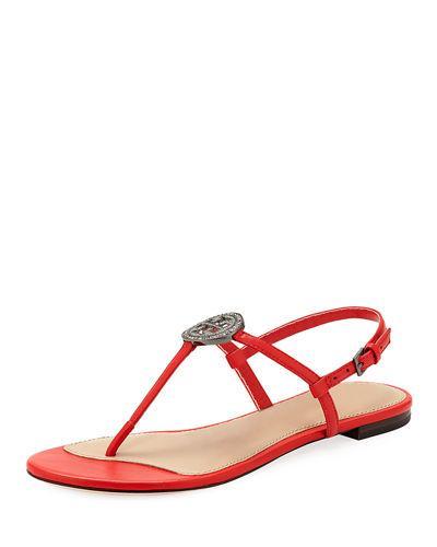 b41423212 Tory Burch Liana Flat Embellished Thong Sandal In Red