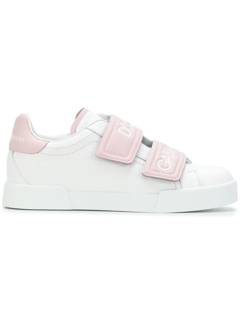 Dolce & Gabbana Dolce And Gabbana White And Pink Double Strap Sneakers