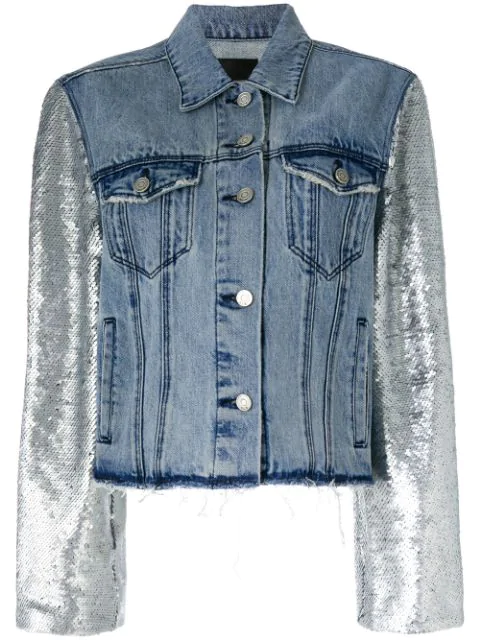 more photos size 7 pre order Rta Haylee Button-front Denim Jacket W/ Sequin Sleeves In Blue ...
