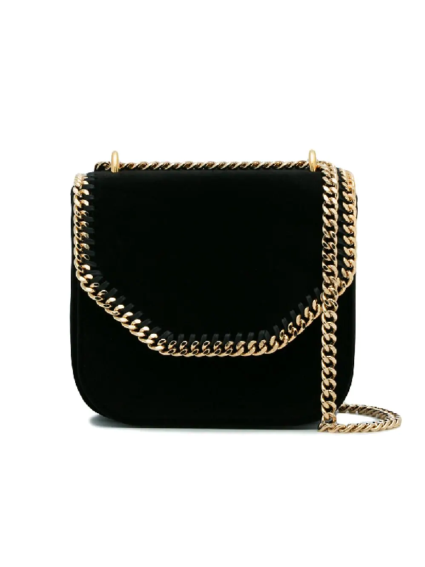 6da8cecb9e Stella Mccartney Mini Falabella Box Velvet Shoulder Bag - Black ...