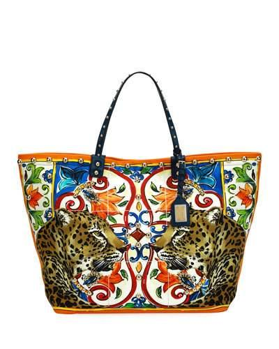 Dolce   Gabbana Beatrice Leopard Maiolica Printed Canvas Tote Bag In Multi  Pattern dddb199d4a46f