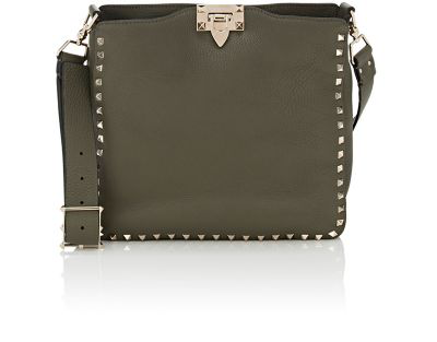 d5278c385f Valentino Rockstud Small Leather Hobo Bag In Dk. Green | ModeSens