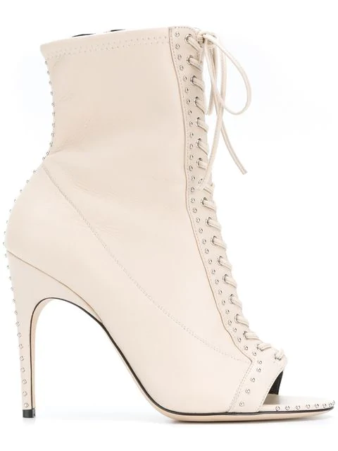 Sergio Rossi Buckled Front Flap Lace-Up Booties In 9179
