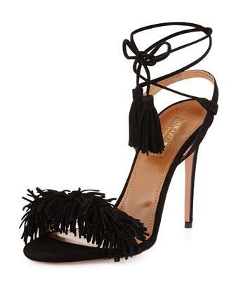 Aquazzura Wild Thing Leather Heels In Black