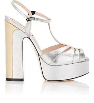 91e152e3a85 Fendi Two-Tone Metallic Leather Platform Sandals In Silver
