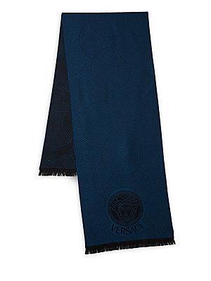 Versace Circular Patterned Wool Scarf In Black Royal