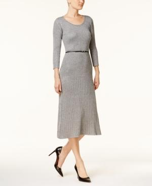 Calvin Klein Belted Sparkle Ribbed Midi Sweater Dress In Tin Heather/Silver Lurex