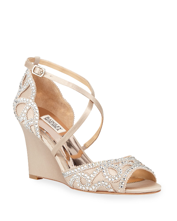 c148907f4ac Badgley Mischka Women s Winter Embellished Satin Wedge Sandals In ...