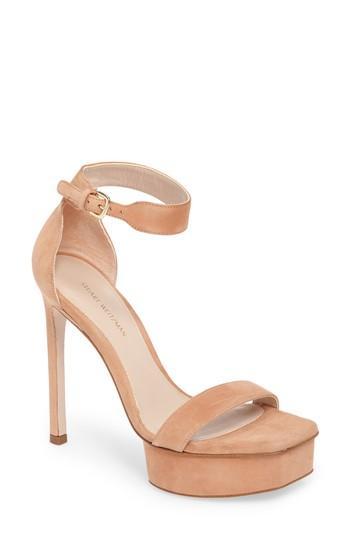 57e598b9293 Stuart Weitzman Women s Backupplat Suede Platform High-Heel Sandals In  Naked Suede
