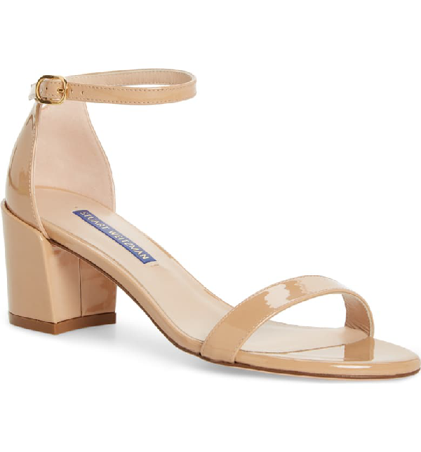 Stuart Weitzman Simple Ankle Strap Sandal In Adobe Aniline Patent