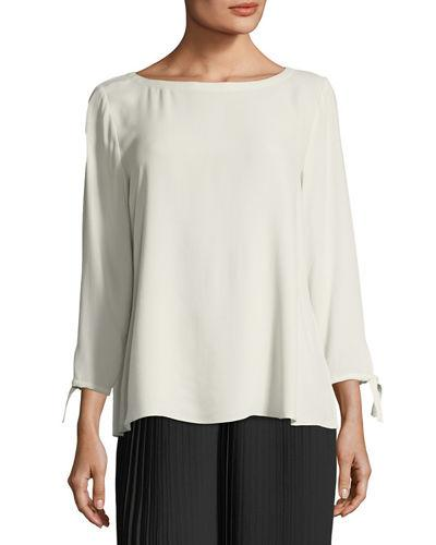 736a40558b36e1 Eileen Fisher Silk Georgette Tie-Sleeve Top, Plus Size In Bone ...
