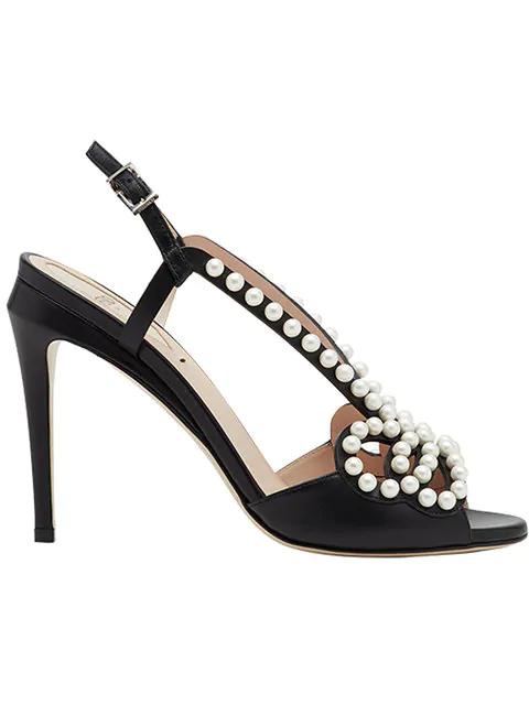 97af941f178 Fendi Pearl Studded Bow Stiletto Sandals In Black