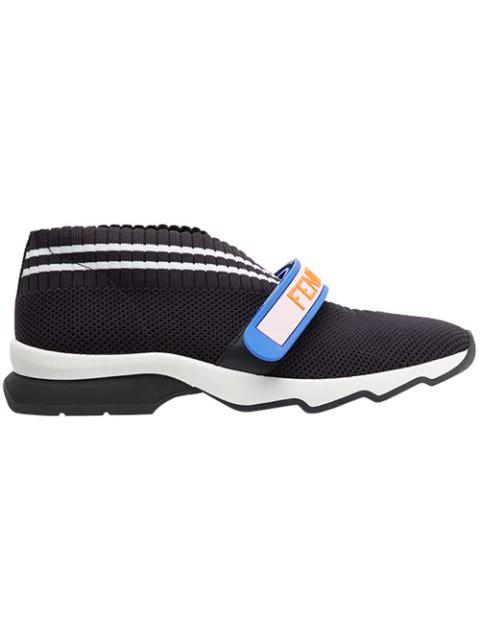 Fendi Rockoko Logo Touchstrap Sneakers In Black