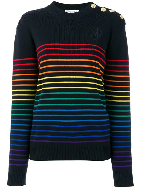 Jw Anderson Navy Sweater With Multicolor Stripes In Navy Multi