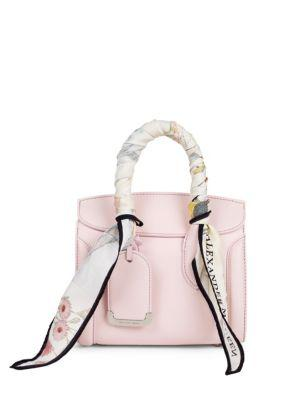 11c6e9ab07349 Alexander Mcqueen Mini Heroine 21 Leather Shoulder Bag With Silk Scarf  Handles In Baby Pink