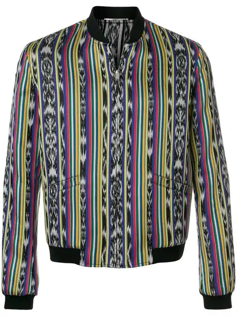 72515215d Saint Laurent Reversible Varsity Jacket With Ikat Stripes In Multicolored  Cotton In 8487 Multi