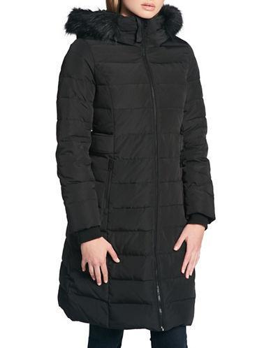 Dkny Faux Fur Trimmed Down Puffer Jacket-black