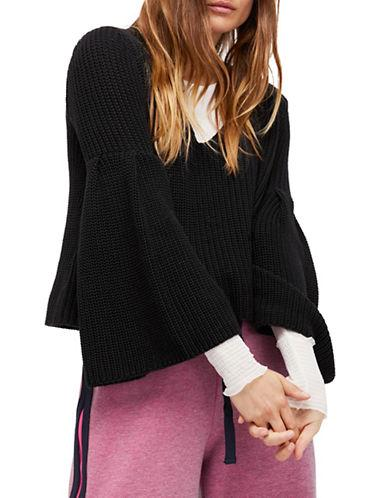 Free People Damsel Chunky Knit Pullover-black