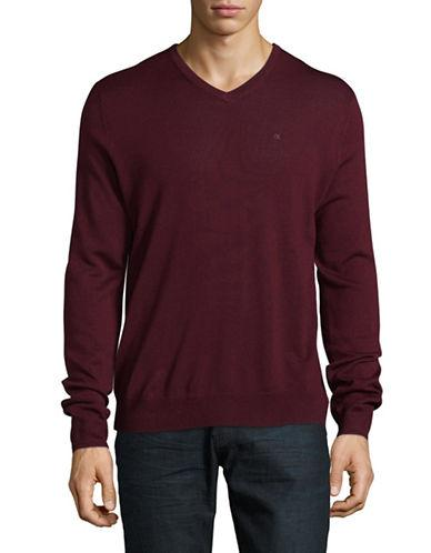 Calvin Klein Viterbo V-neck Merino Wool Sweater-red