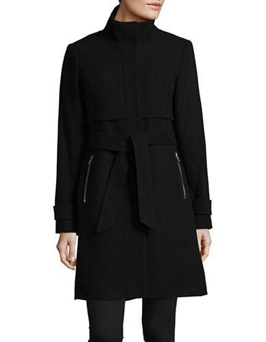 Vince Camuto Stand Collar Wool-blend Walker Coat-black