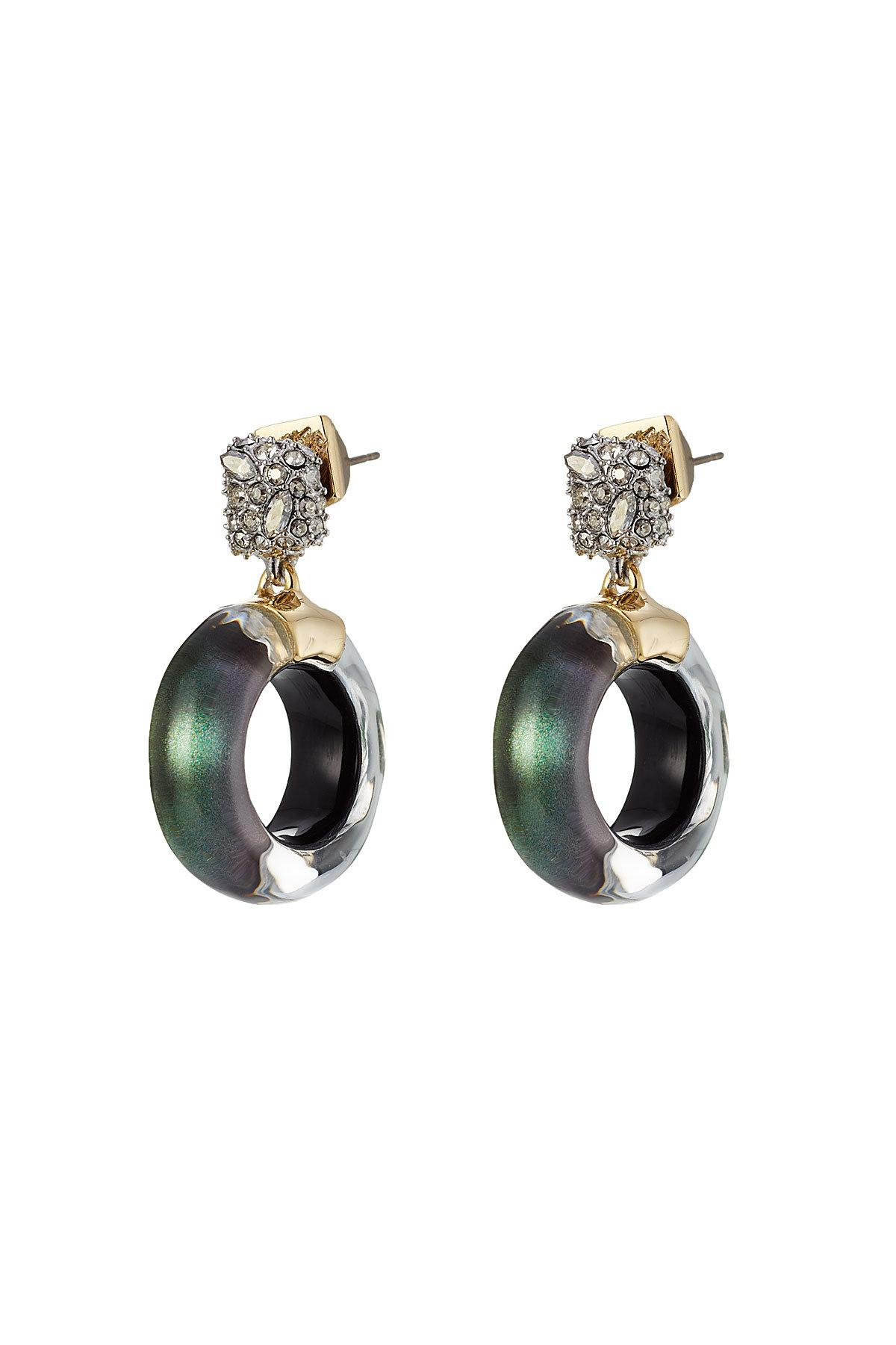 Alexis Bittar 10kt Gold Earrings With Lucite And Crystals In Green