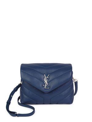 56bf5db0bd Saint Laurent Loulou Monogram Mini V-Flap Calf Leather Crossbody Bag -  Nickel Oxide Hardware