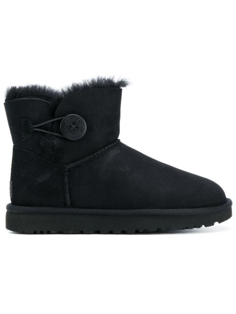 Ugg Mini Bailey Button Shearling Lined Suede Boots In Black