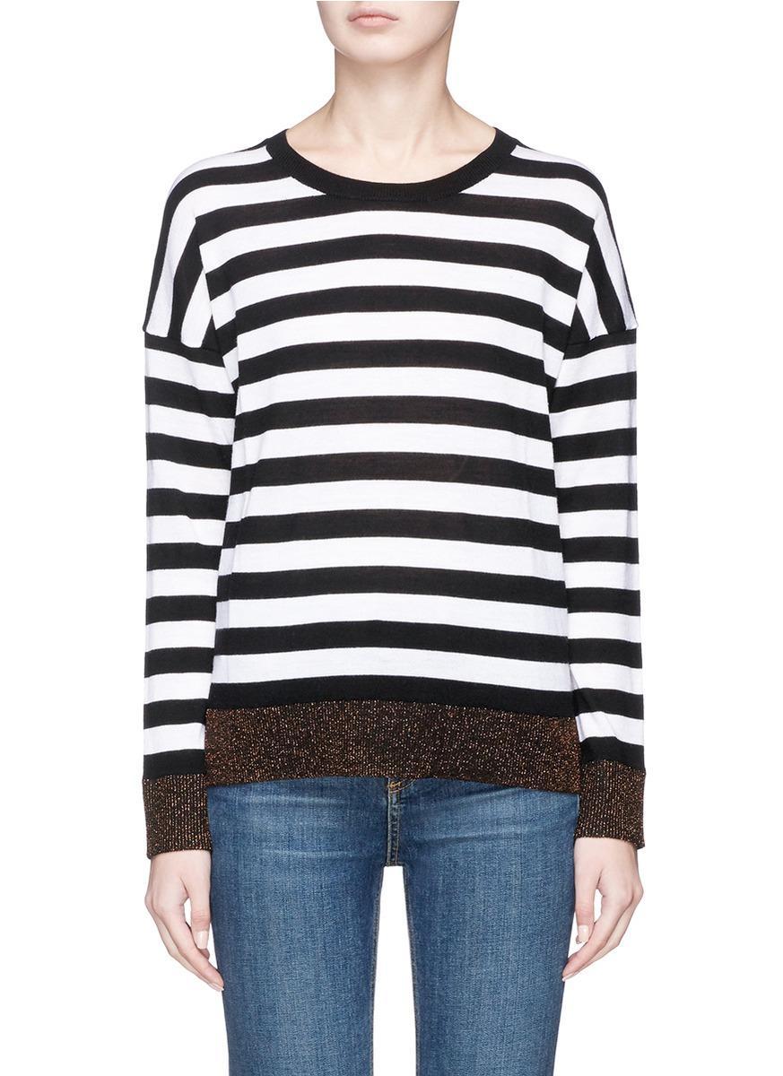 Rag & Bone 'june' Stripe Knit Sweater In Black