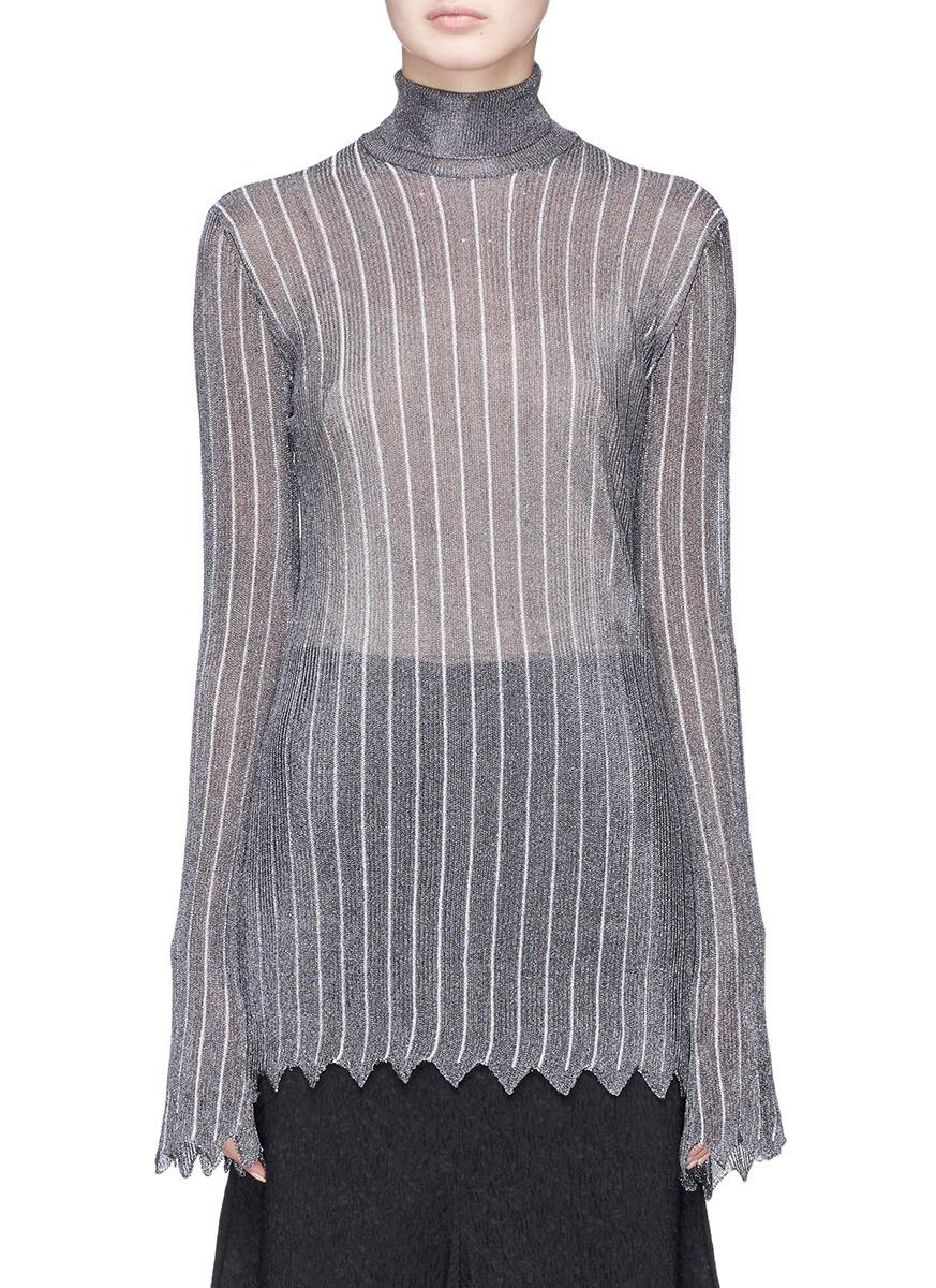 Ellery 'minted' Stripe Metallic Knit Turtleneck Sweater