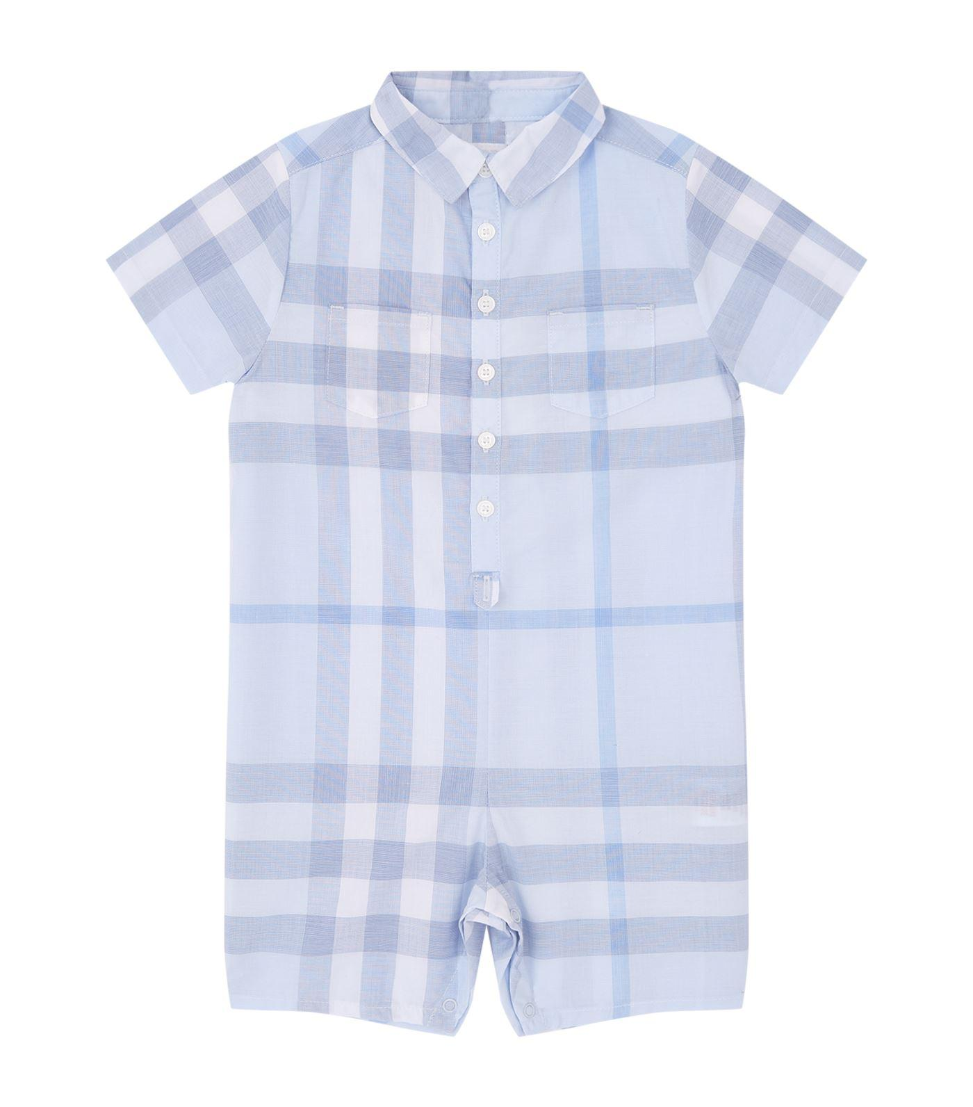 Burberry London Check Babygrow 6 Months - 3 Years In Blue