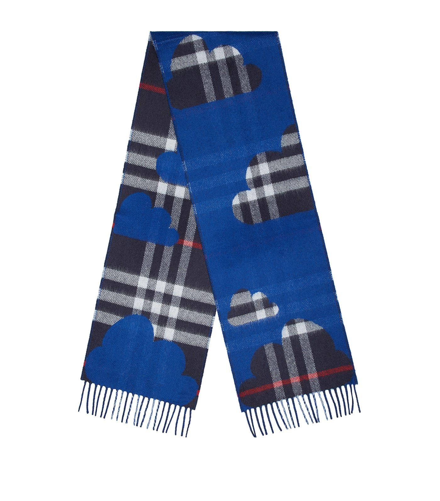 Burberry Rain Check Printed Scarf In Blue