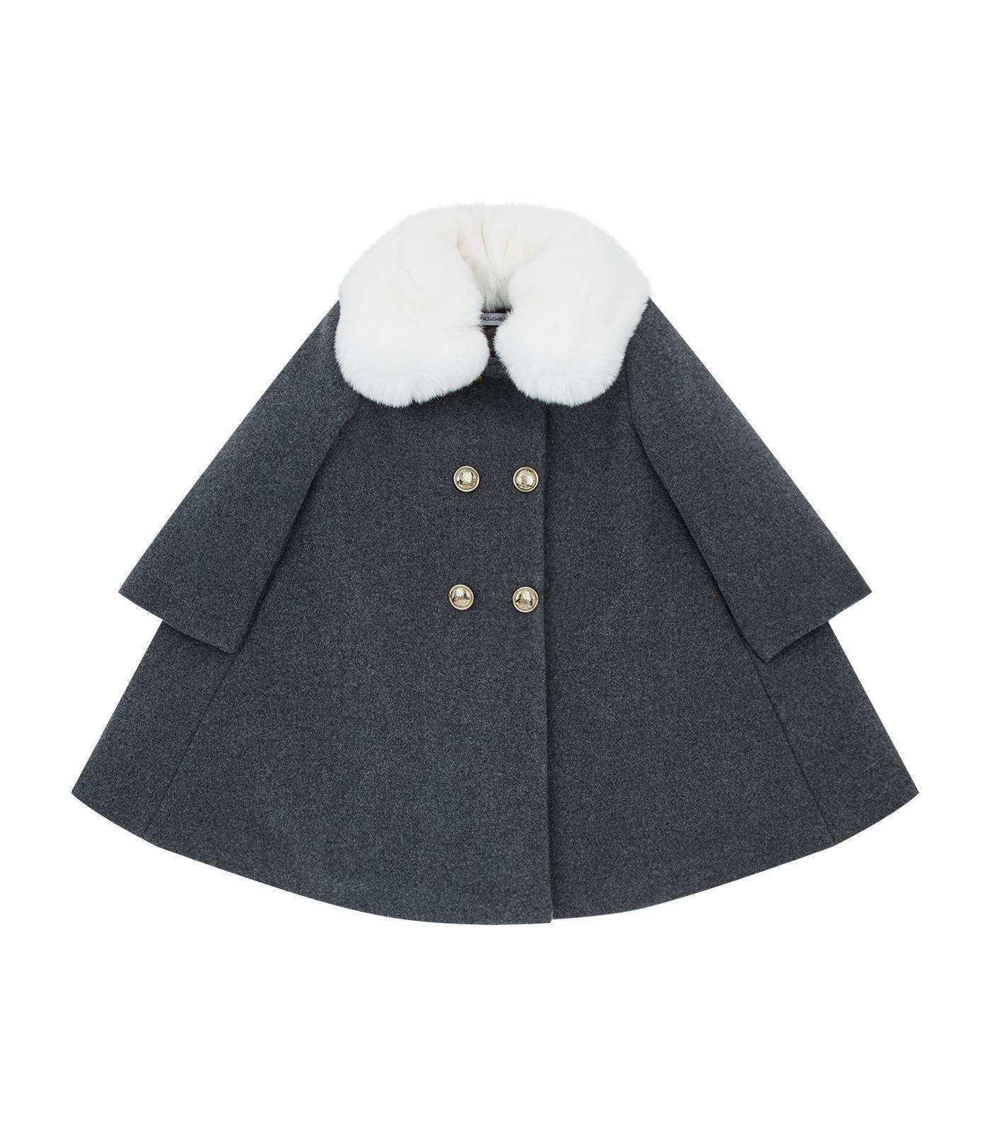 Dolce & Gabbana Double-breasted Fur Collar Coat In Multi