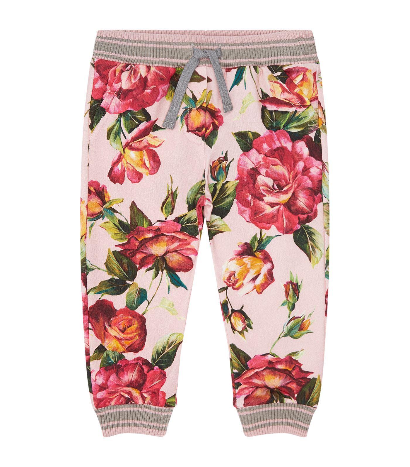 Dolce & Gabbana Rose Patterned Sweatpants In Multi