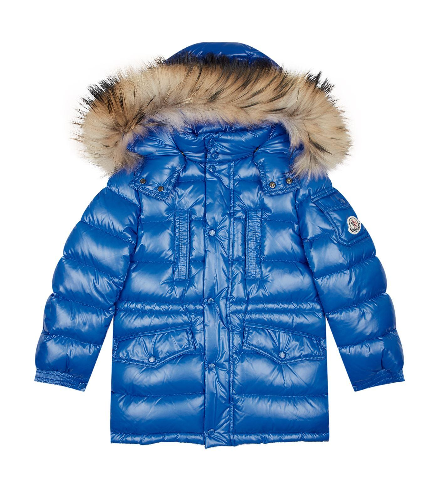 Moncler Riviere Shiny Fur Hood Coat In Blue