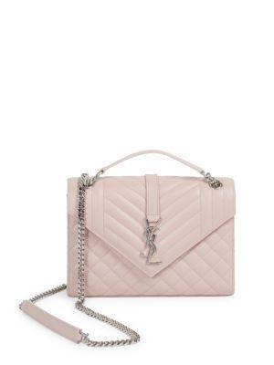 8043e167296 Saint Laurent V Flap Monogram Medium Envelope Shoulder Bag W  Silvertone  Hardware In Marble Pink