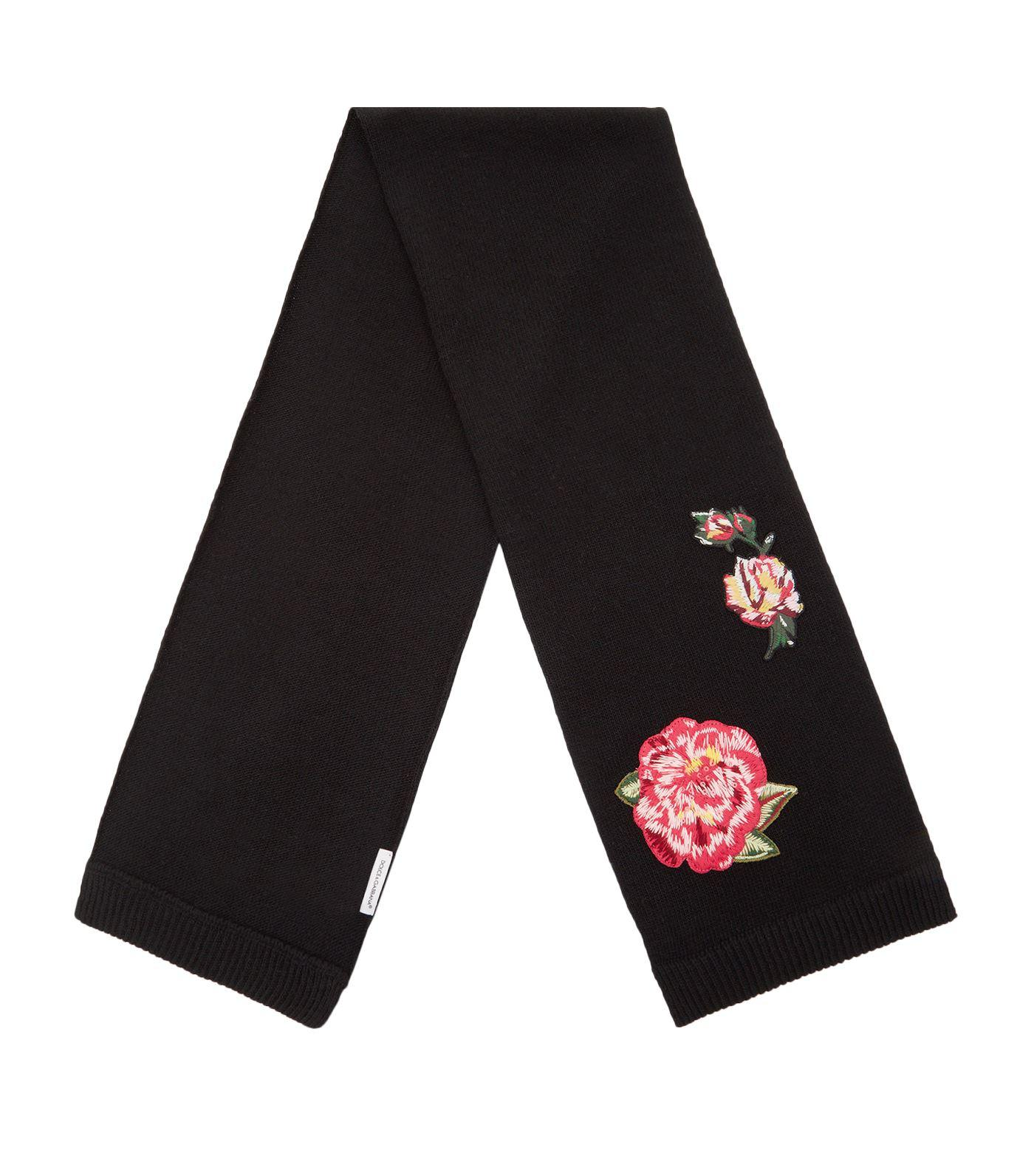 Dolce & Gabbana Floral Embroidered Scarf In Multi