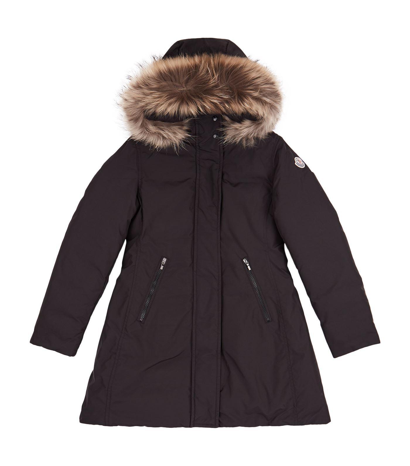 Moncler Chinue Fur Trim Coat In Black