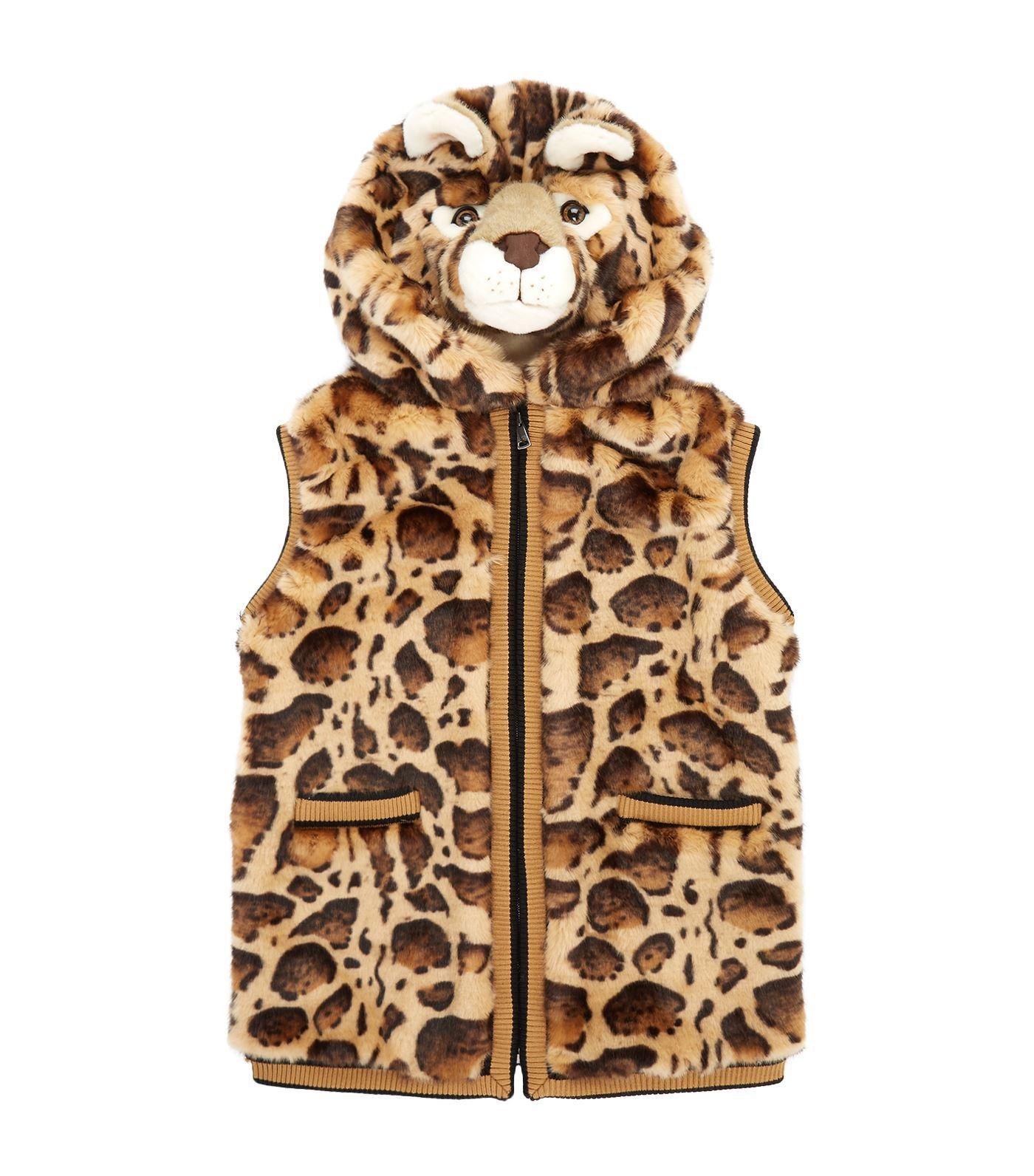 Dolce & Gabbana Faux Fur Leopard Gilet In Multi
