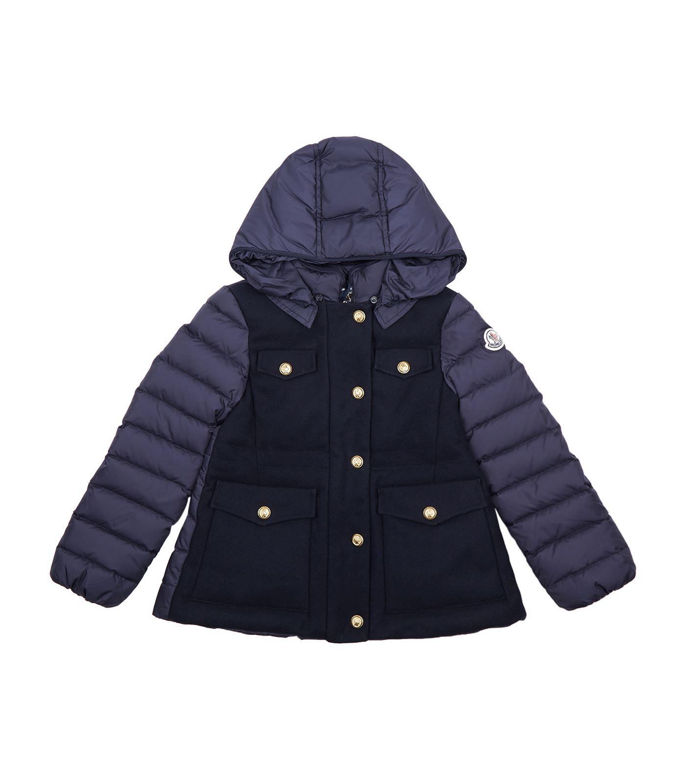 Moncler Admirable Gold Button Coat In Navy