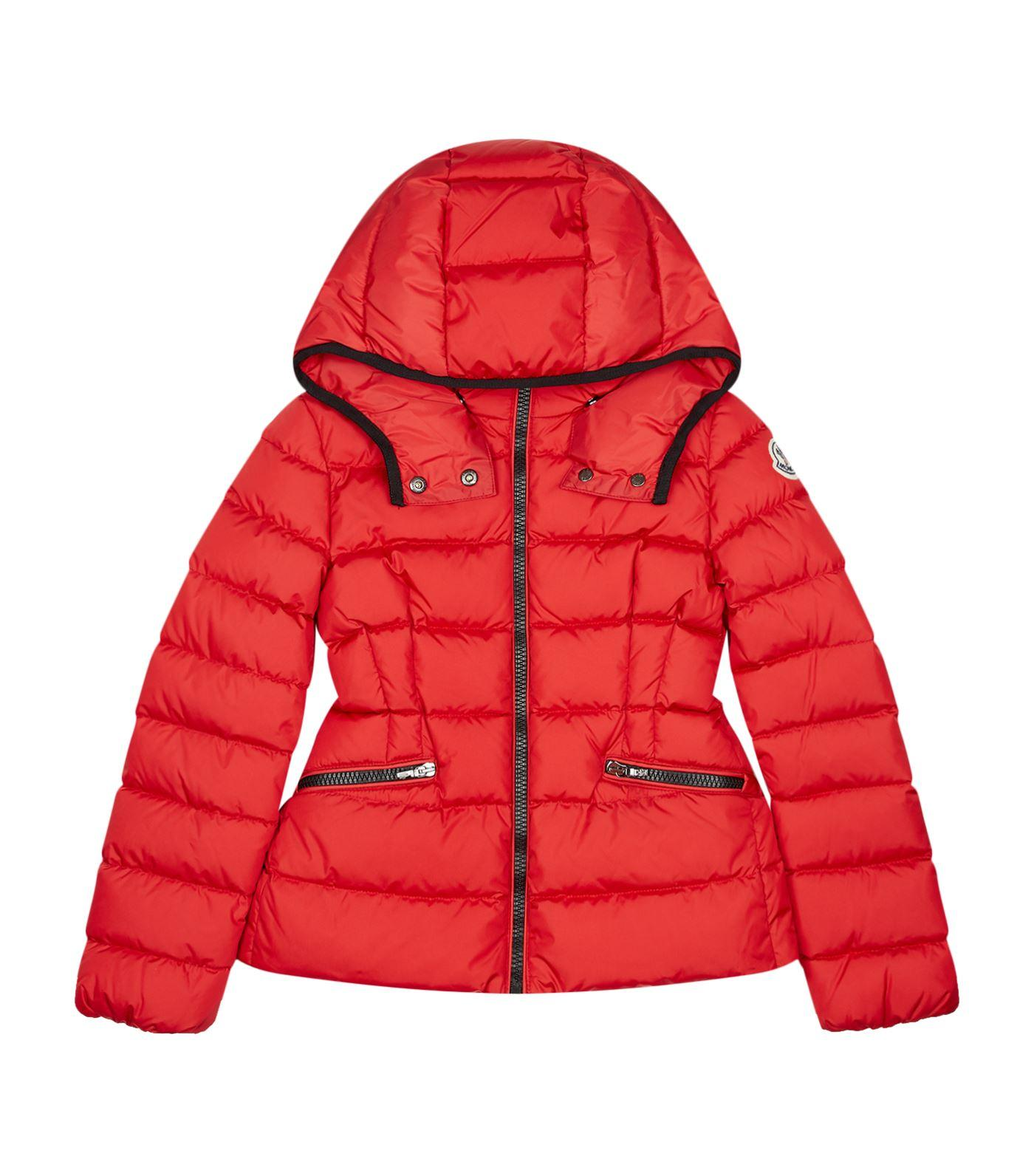 Moncler Saby Hooded Down Jacket In Red