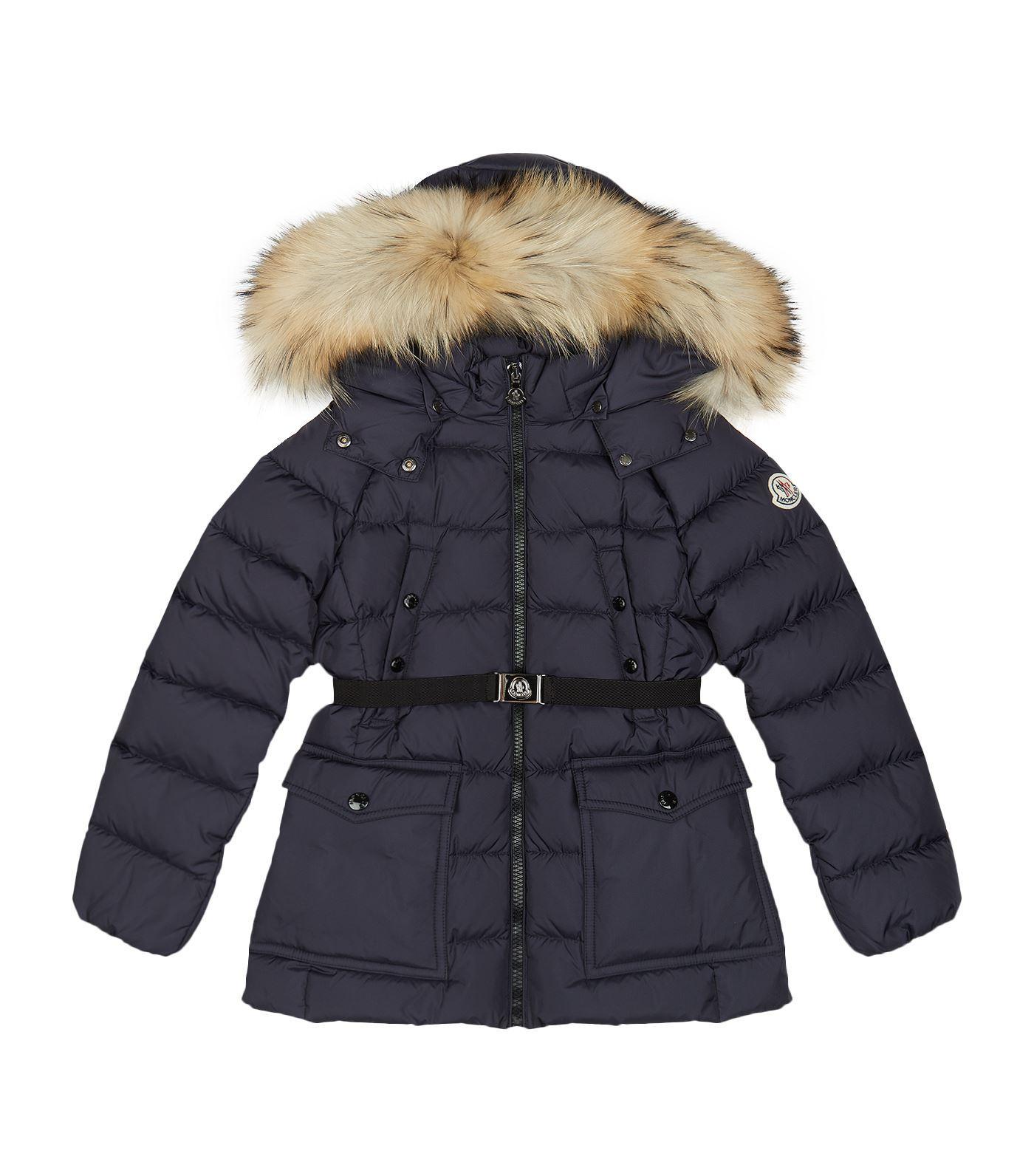 Moncler Genet Belted Fur Hood Coat In Navy