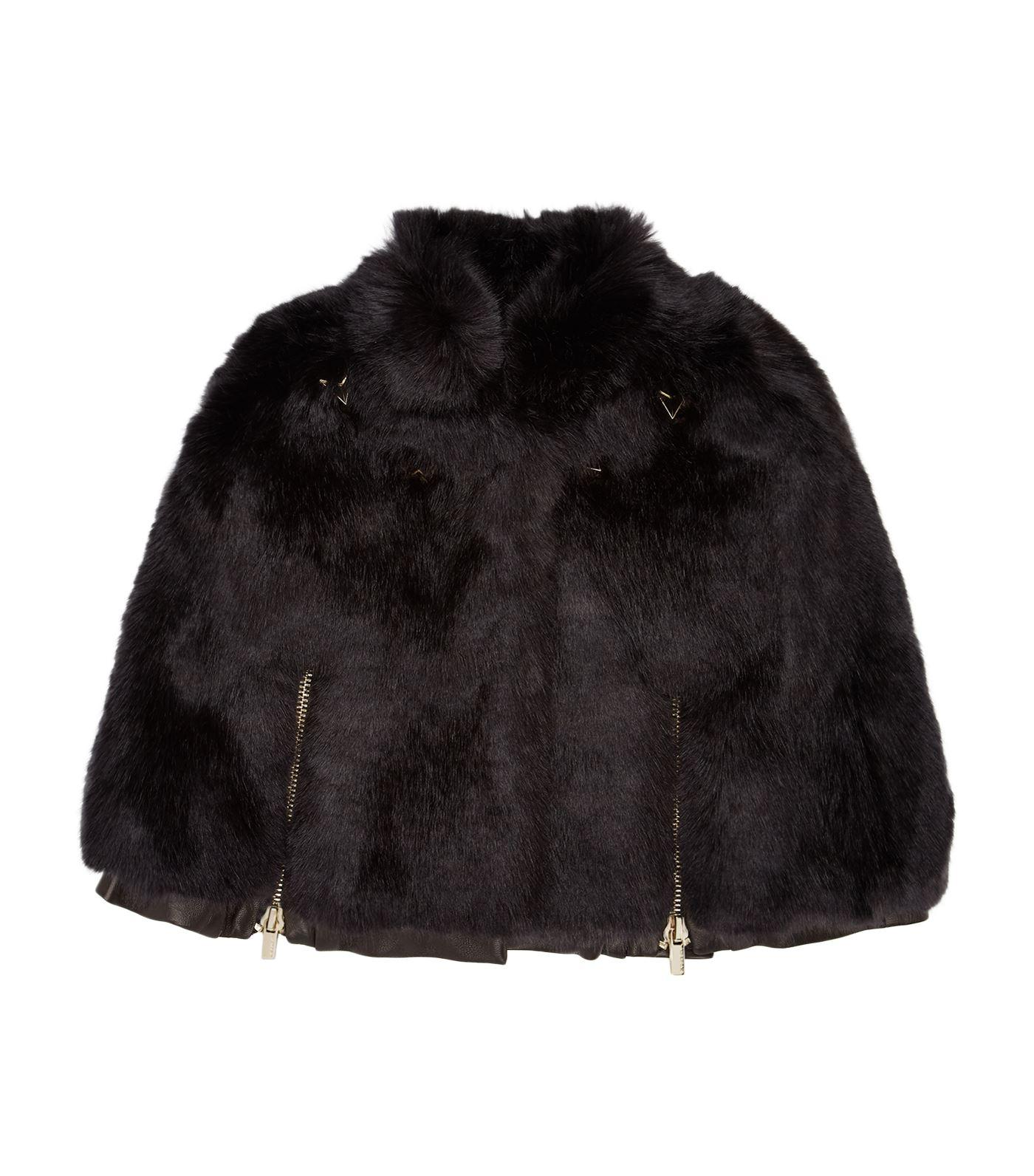 Givenchy Faux Fur Leather Cape In Black
