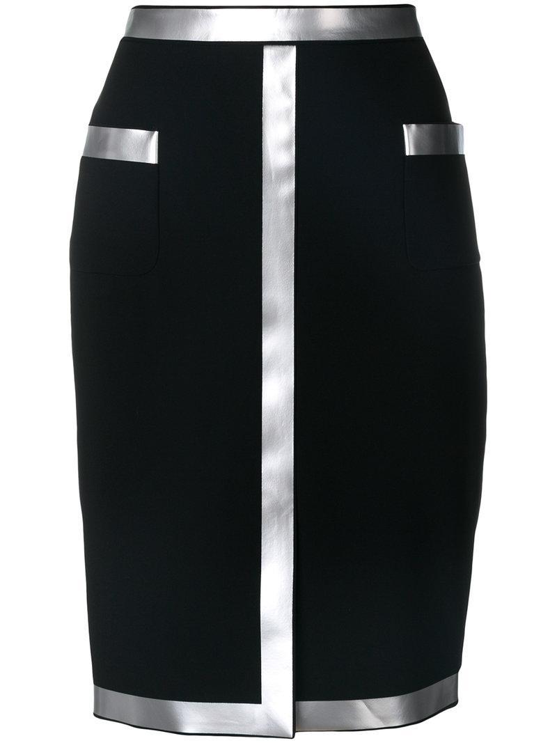 Moschino Vinyl Embellished Pencil Skirt In Nero