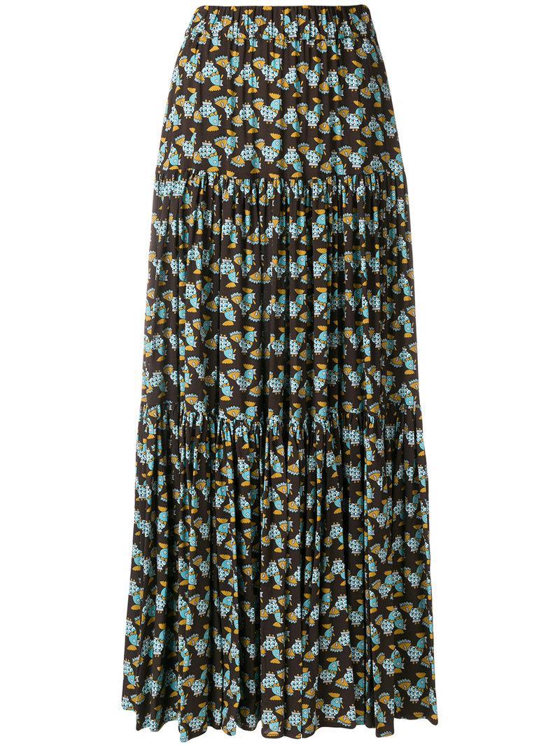 La Doublej Fish Print Tiered Skirt - Brown